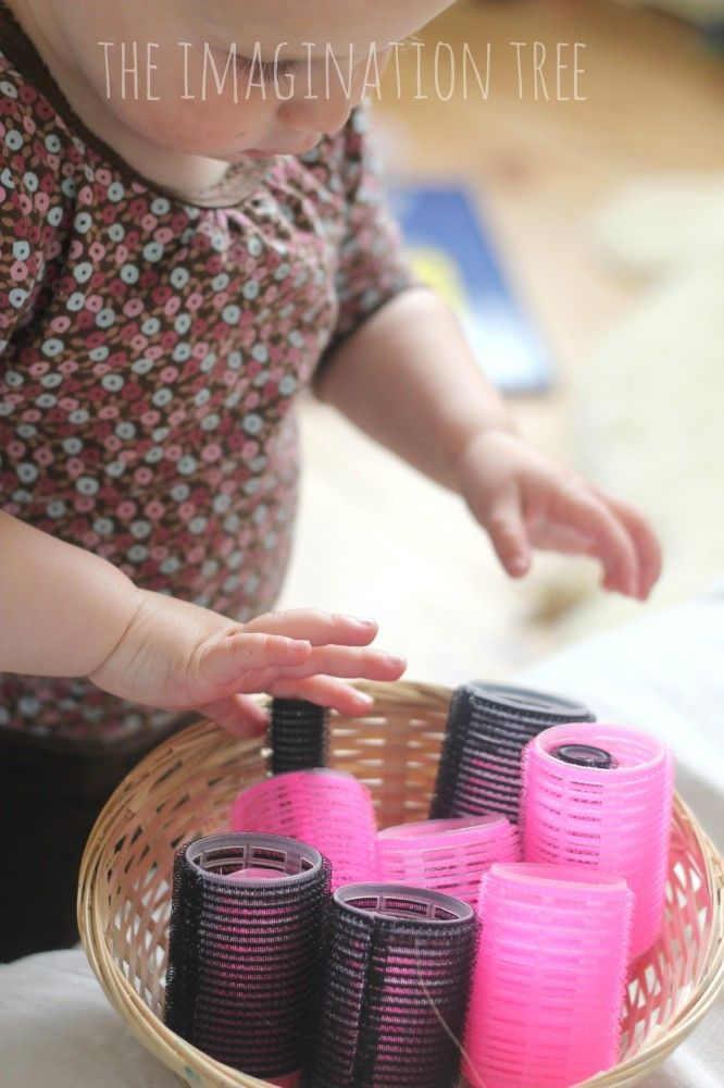 Baby and Toddler Sensory Play with Hair Rollers: stacking, nesting, putting them on t-paper rolls...