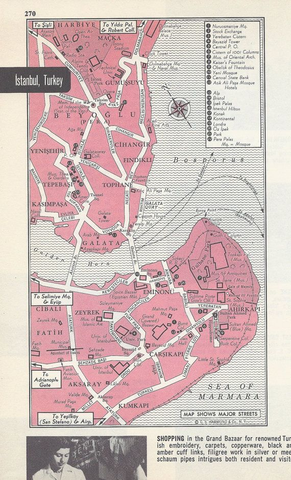 Istanbul Turkey Map City Map Street Map 1950s by VintageButtercup
