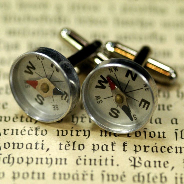 Little tin working compasses encased in plastic covers on silver plated cuff links.