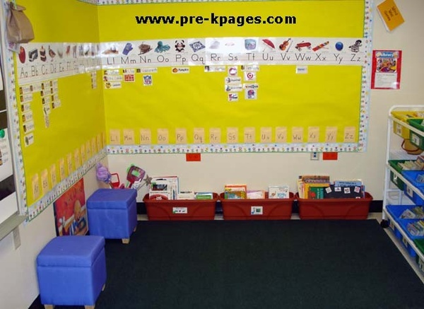 alphabet wall- with kids' pictures and pictures of the items they bring. And other environmental print. Or vocab words.