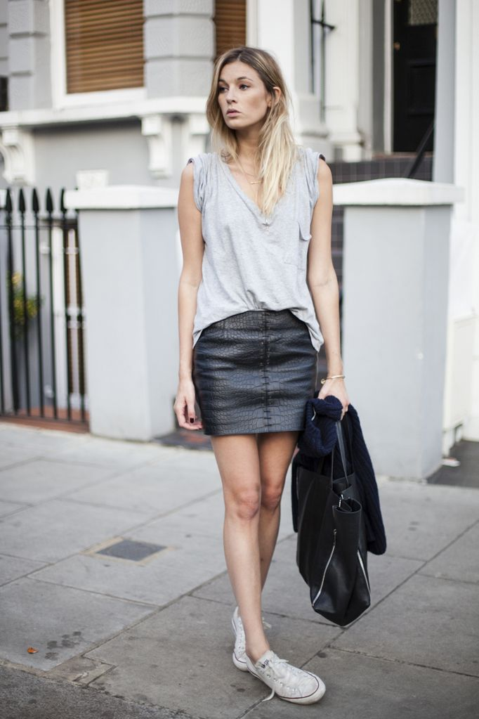 leather skirt + grey top + converse