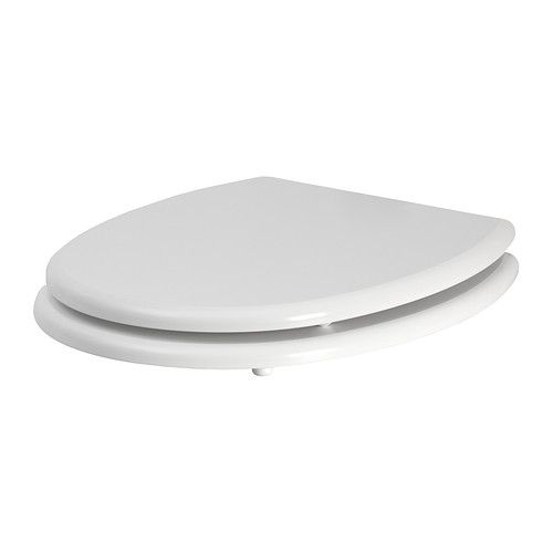 IKEA - KULLARNA, Abattant WC, Les charnières avec amortisseurs intégrés freinent le siège de toilette et le referment lentement et en silence.