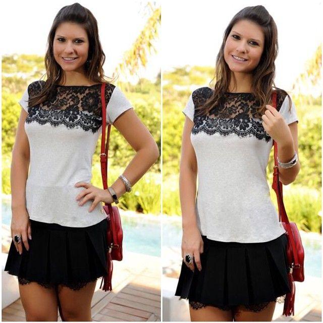 Mel Moda laço preto e branco tops mulheres de manga curta blusa CS4590