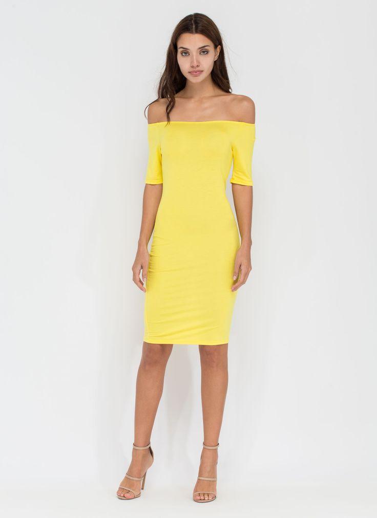 No Tan Lines Off-Shoulder Midi Dress WHITE ROYAL YELLOW BLACK ORANGE - GoJane.com