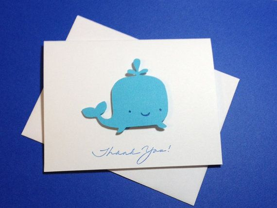 Whale Baby Shower Birthday Thank You Cards 3D by DesigningMoments, $14.00