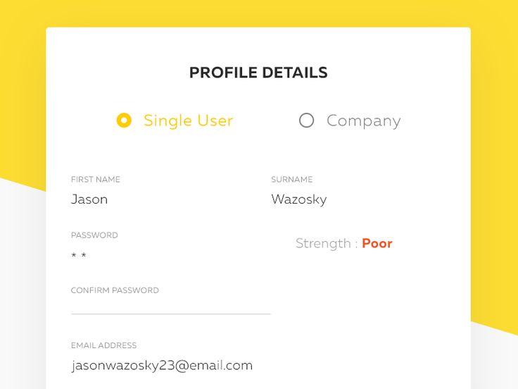 Profile Details Password Setup Flow