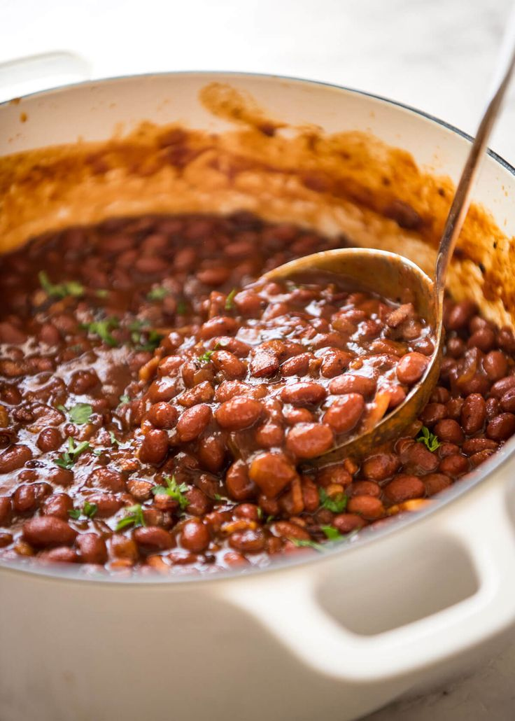 southern style homemade baked beans with bacon in a thick rich savoury sauce with a