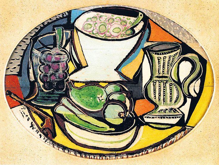 Emil Filla, 1927. Zátiší s dýmkou džbánem a ovocem. Vyvolávací cena 3 miliony.