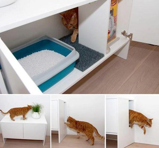 Soluções criativas e elegantes para esconder a caixa de areia do seu gato