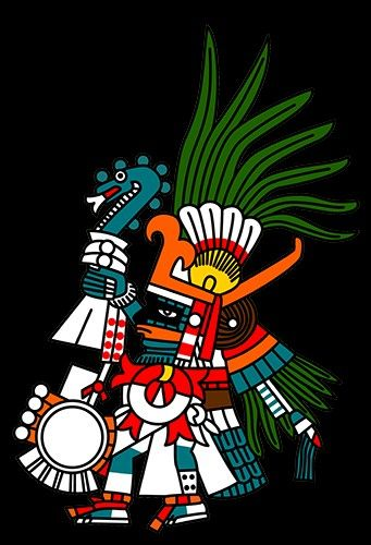 A depiction of the Aztec god of war and the sun Huitzilopochtli. The god carries his typical atl-atl or spear-thrower, feathered arrows and shield and wears hummingbird feathers. (Codex Barbonicus).