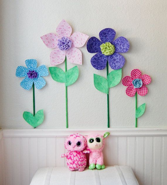 3d fabric flowers are beautiful wall decor for girls room, nursery, or playrooms. they are a great alternative to traditional wall decals. add