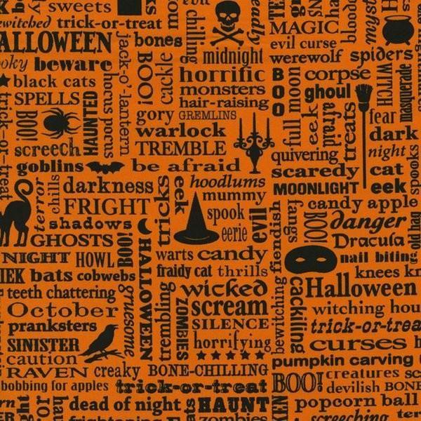 Beggar's Bounty: Spooky Words on Orange