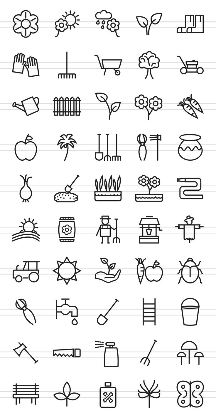 garden branding inspiration ~ 50 Gardening Line Icons by IconBunny on @creativemarket $9.00