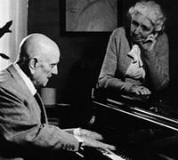 Jean Sibelius plays piano to his wife Aino at their home Ainola.