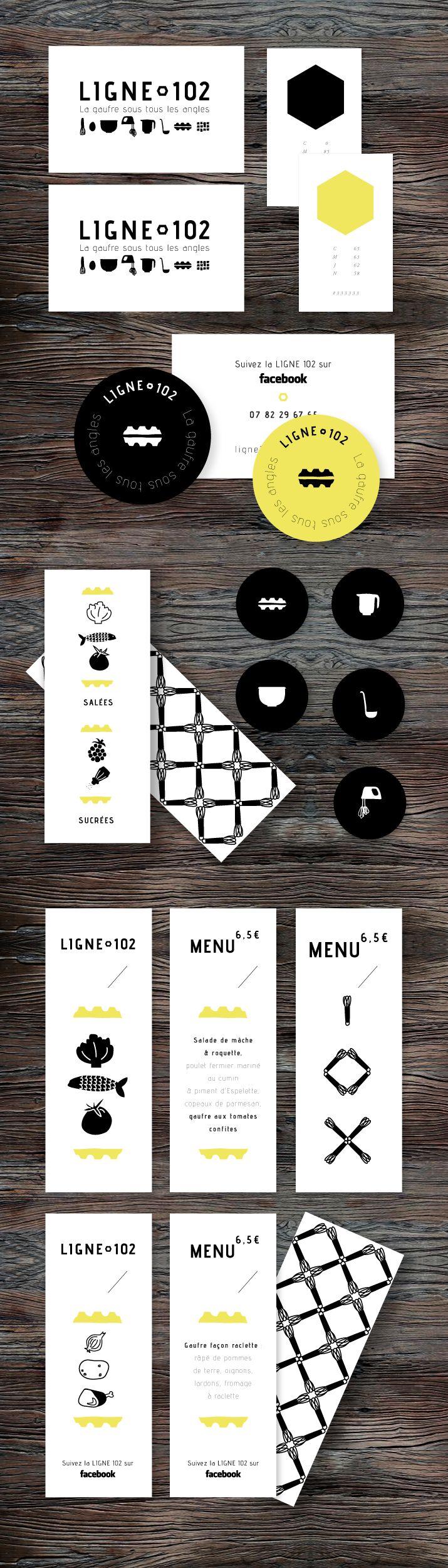 Identité visuelle et design du foodtruck spécialisé dans les gauffres : Ligne 102 - #graphic #design #identity