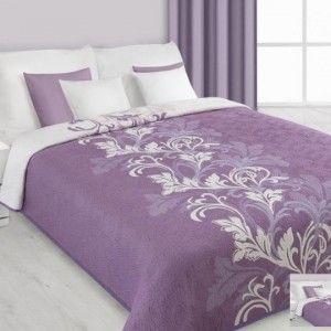 Obojstranný fialovo - biely prehoz na posteľ s ornamentom