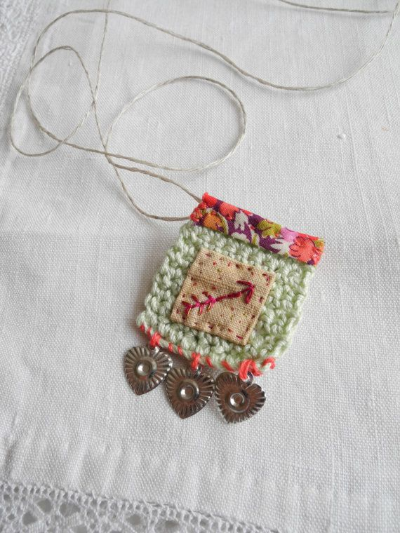 Embroidered arrow, crochet, liberty fabric, brooch and necklace