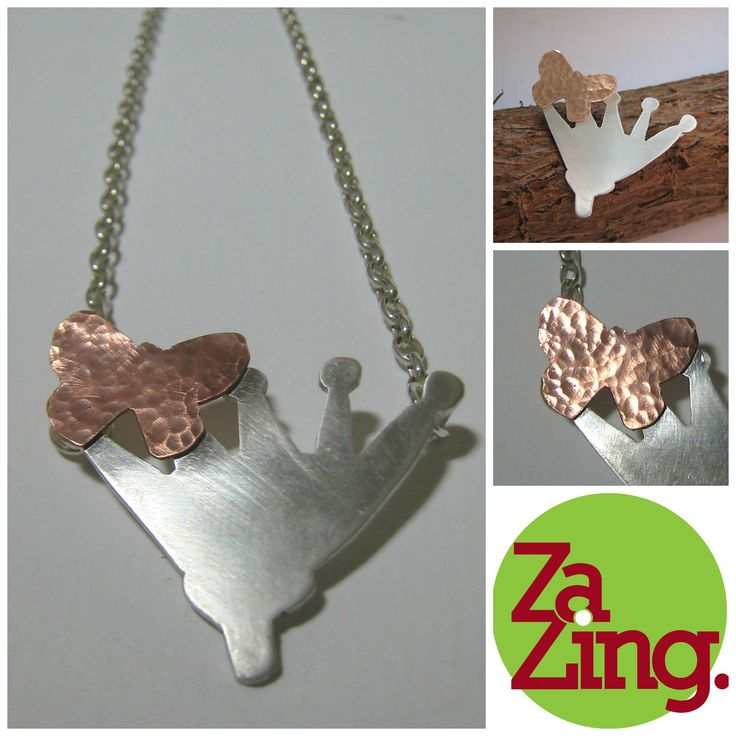 ZaZing, Contemporary New Zealand Jewellery.  Pohutakawa Flower and Butterfly mixed metal (sterling silver and copper) pendant.
