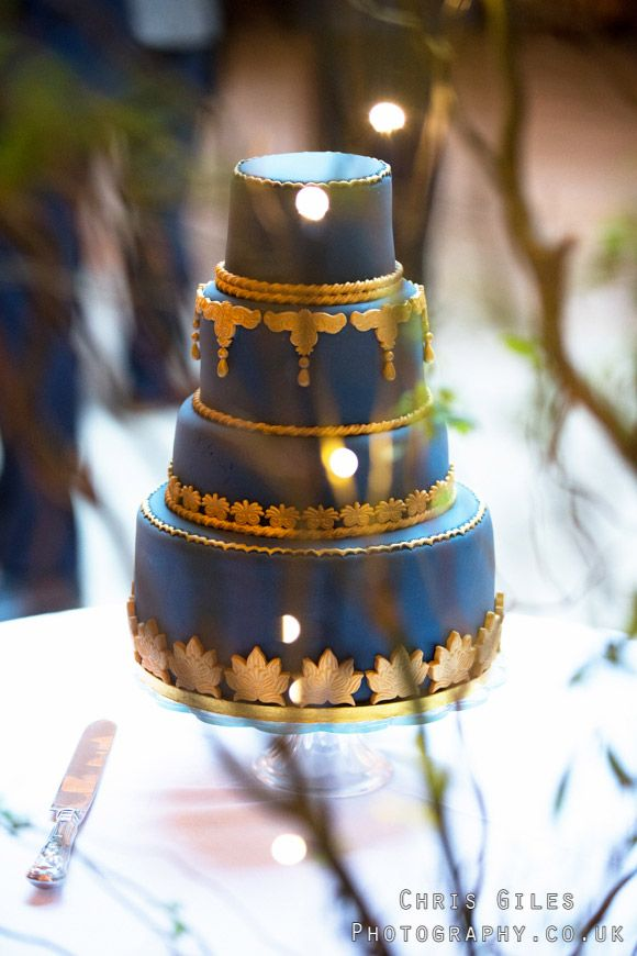 Blue And Gold Wedding Cake Sapphire