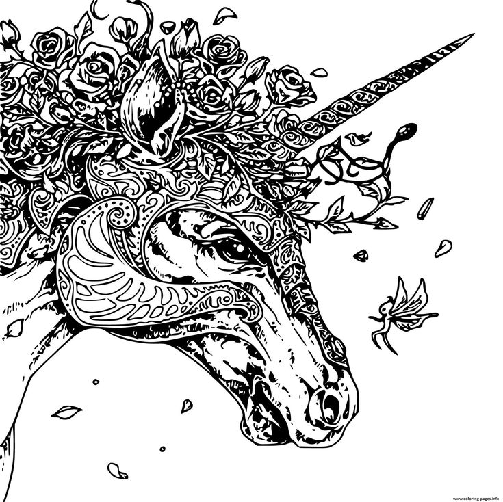 Print unique unicorn head adult zentangle coloring pages ...