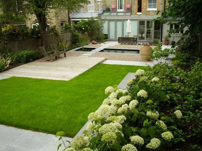 Moderne Gartengestaltung Formal Rasen Hortensien Pool Kies