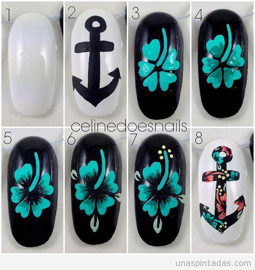 Diseño de uñas paso a paso, cómo dibujar flor hawaiana y un ancla