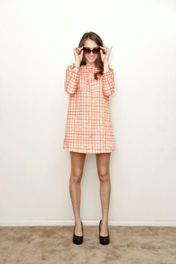 A mod dress in a cheery grid print.
