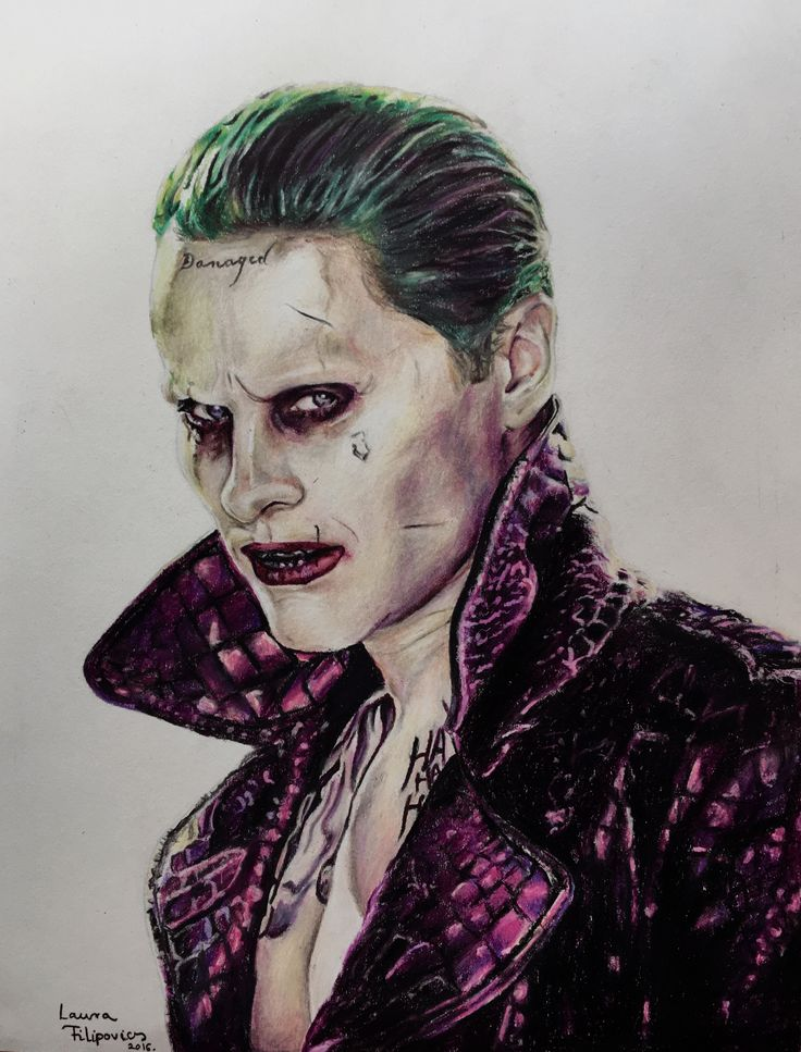Colored pencil drawing of the Joker (Jared Leto) by Laura Filipovics ♠️♥️♣️♦️⚜