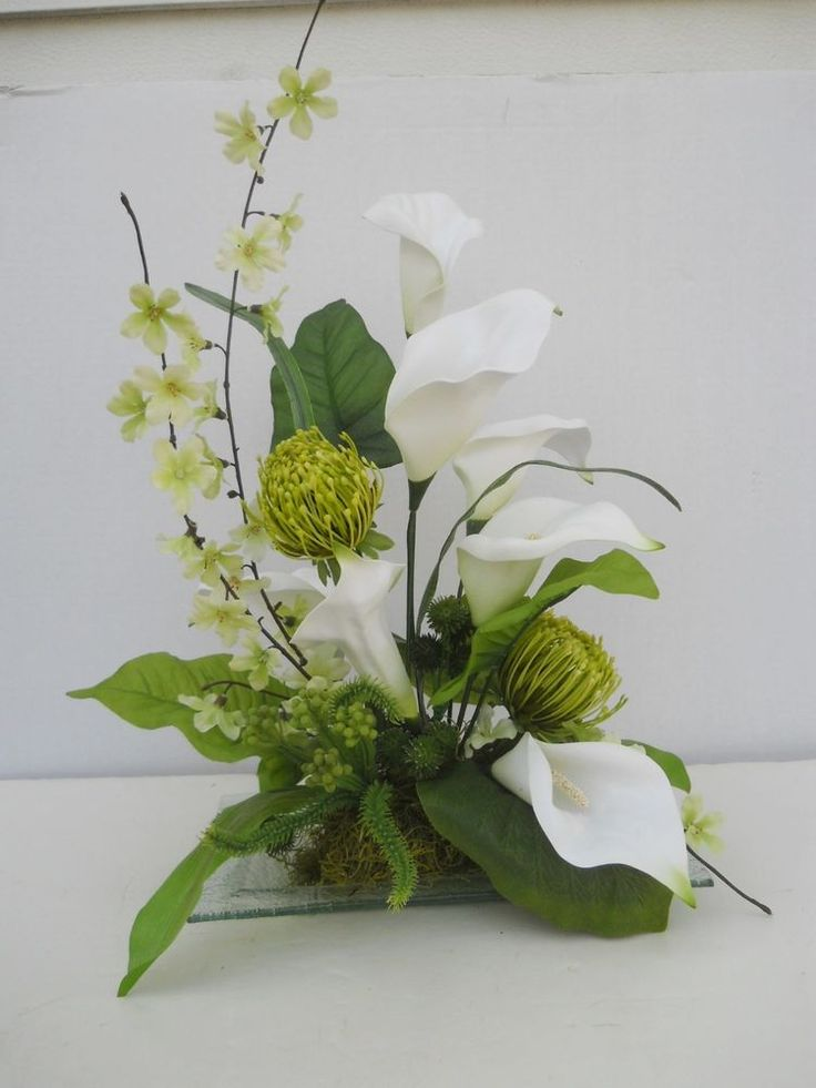 Silk calla lily flower floral arrangement table for Bridal table arrangements