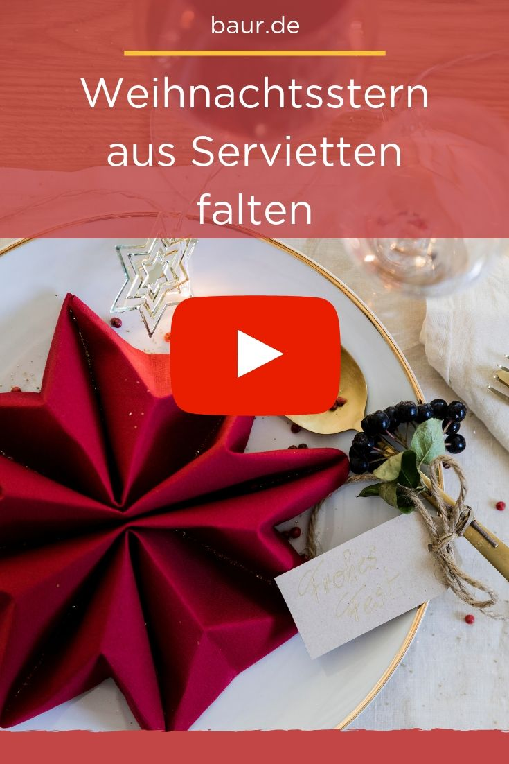 serviette falten zu weihnachten weihnachts stern baur. Black Bedroom Furniture Sets. Home Design Ideas