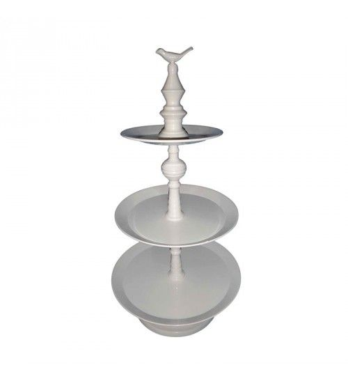 METALLIC 3 TIER PLATE IN CREME COLOR D29X57