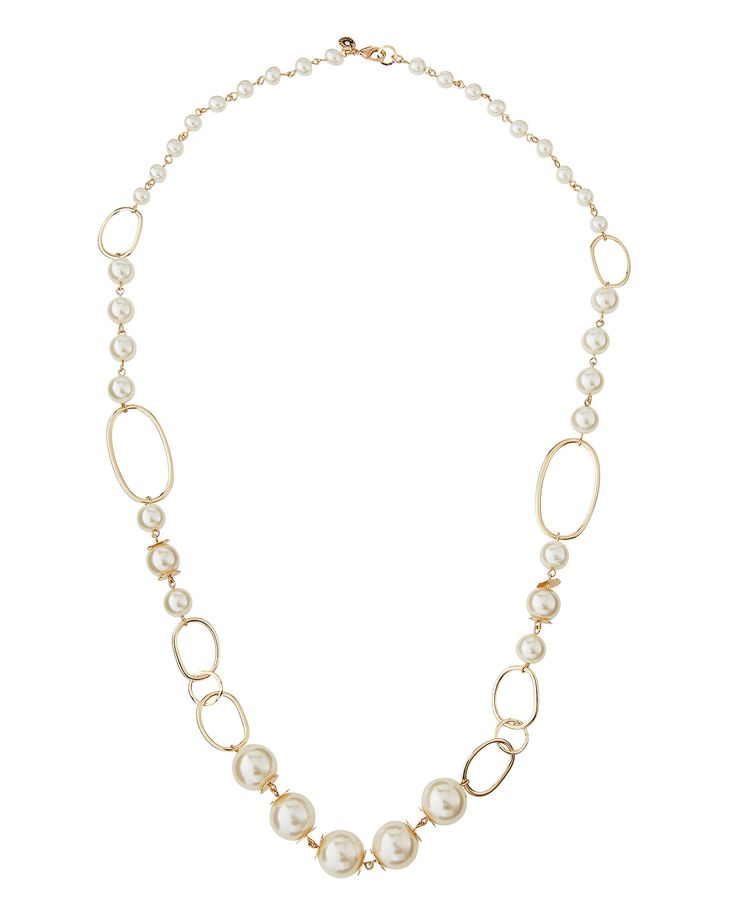Lydell NYC Long Golden Large Pearly Link Necklace, Women's, Size: L, PEARL