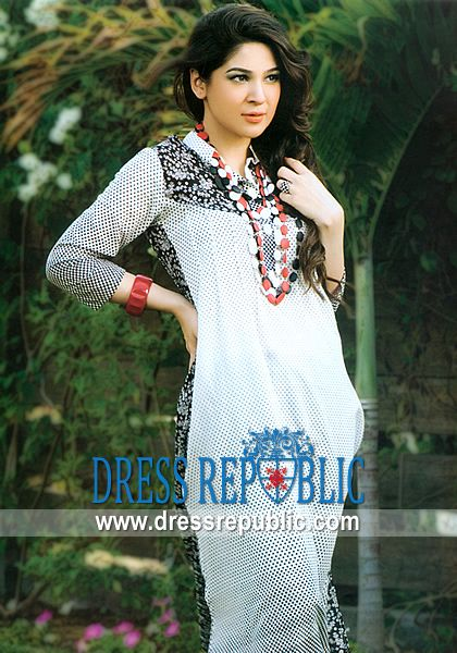 Off White Amisk, Product code: DR7402, by www.dressrepublic.com - Keywords: Casualwear Pakistani Dresses, Designer Pakistani Casual Wear Dresses Online Shop