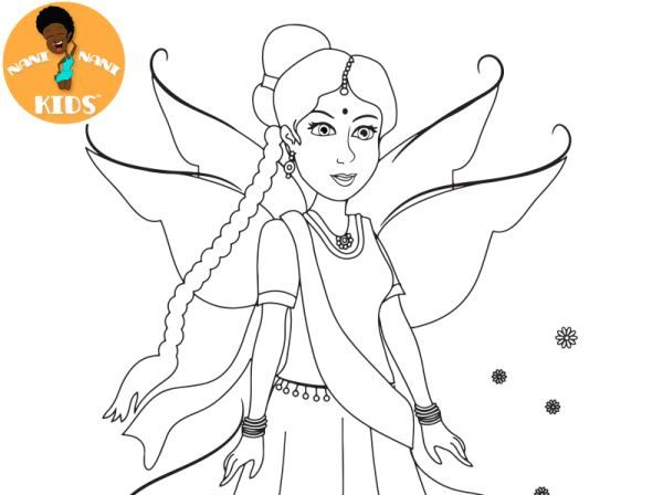 Hello Artist! Have you colored the Indian fairy from our