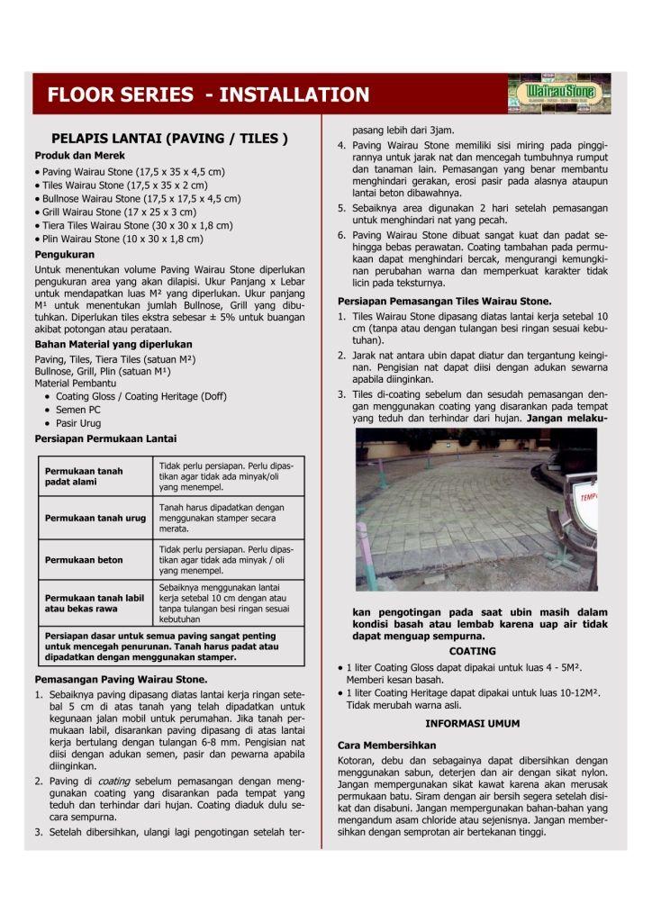 Petunjuk Pemasangan Paving & Tiles