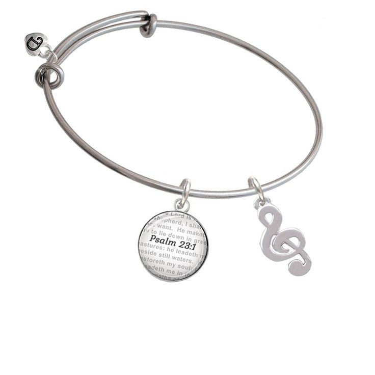 Rounded Clef - Bible Verse Psalm 23:1 Glass Dome Bangle Bracelet -- Find out more about the great product at the image link. (This is an affiliate link and I receive a commission for the sales)
