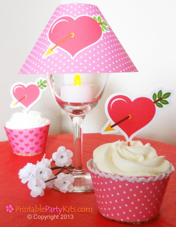 Free Printable Valentine heart  wineglass lampshade and cupcake toppers template by Printable Party Kits