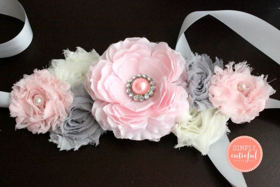 Pink Gray Maternity Sash  Maternity Belt Baby by simplycutieful