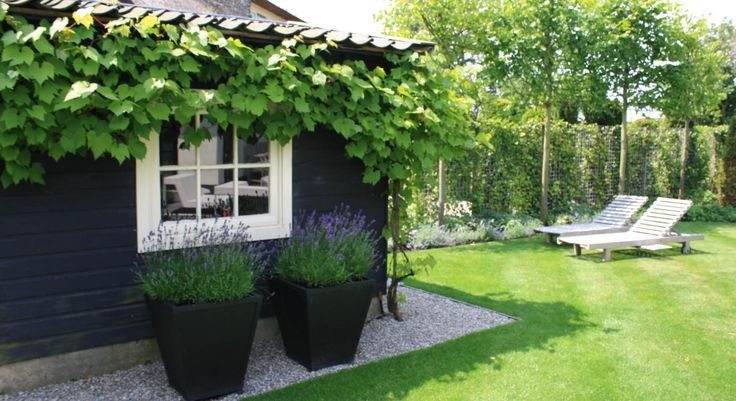 grijs split rond tuinhuis