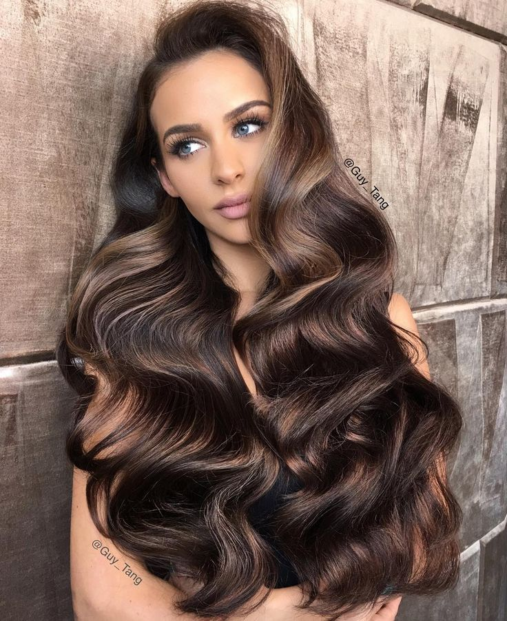 Gorgeous brunette hair by @guy_tang - those waves!