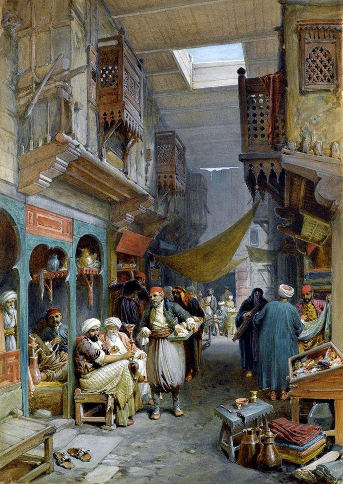 Bazaar , Suez , 1884 By William Simpson - British , 1823 - 1899 Watercolor on paper . 68.5 X 49.5cm