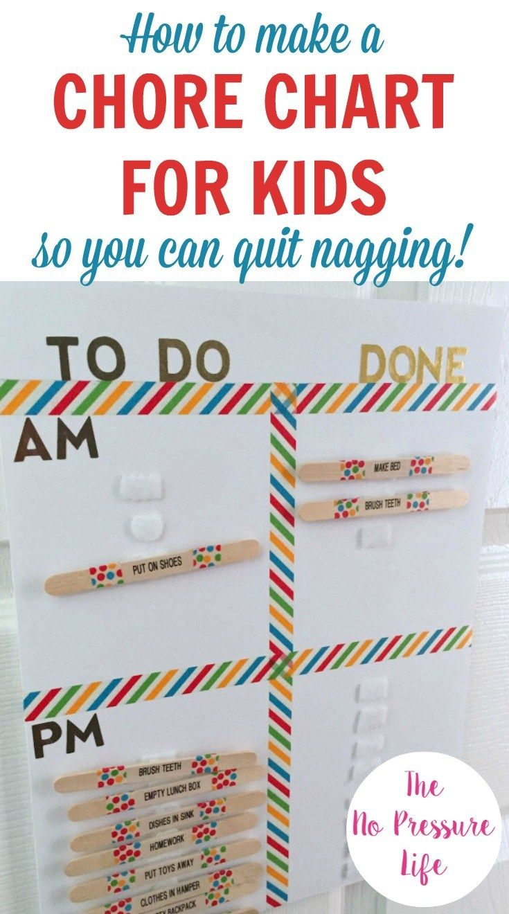 Learn how to make a DIY chore chart for kids you can use to set daily routines and create a system to reward good behavior. Whether your girls and boys are toddlers or teenagers - you can customize this chart to suit their age and stage. Great ideas!