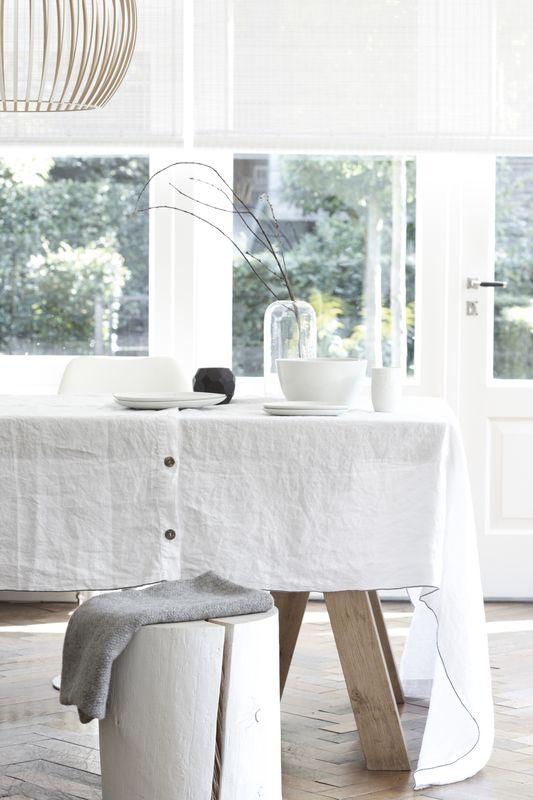 House in Style malo tafelkleed linnen met antraciet lockrand met of zonder servetten - tafellinnen