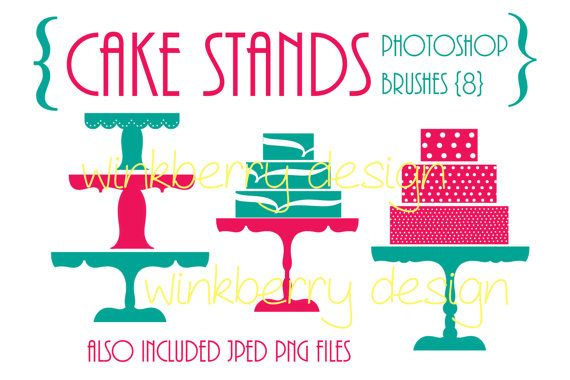 Cake Stands Photoshop Brushes png jpeg files by WinkberryDesign, $4.00