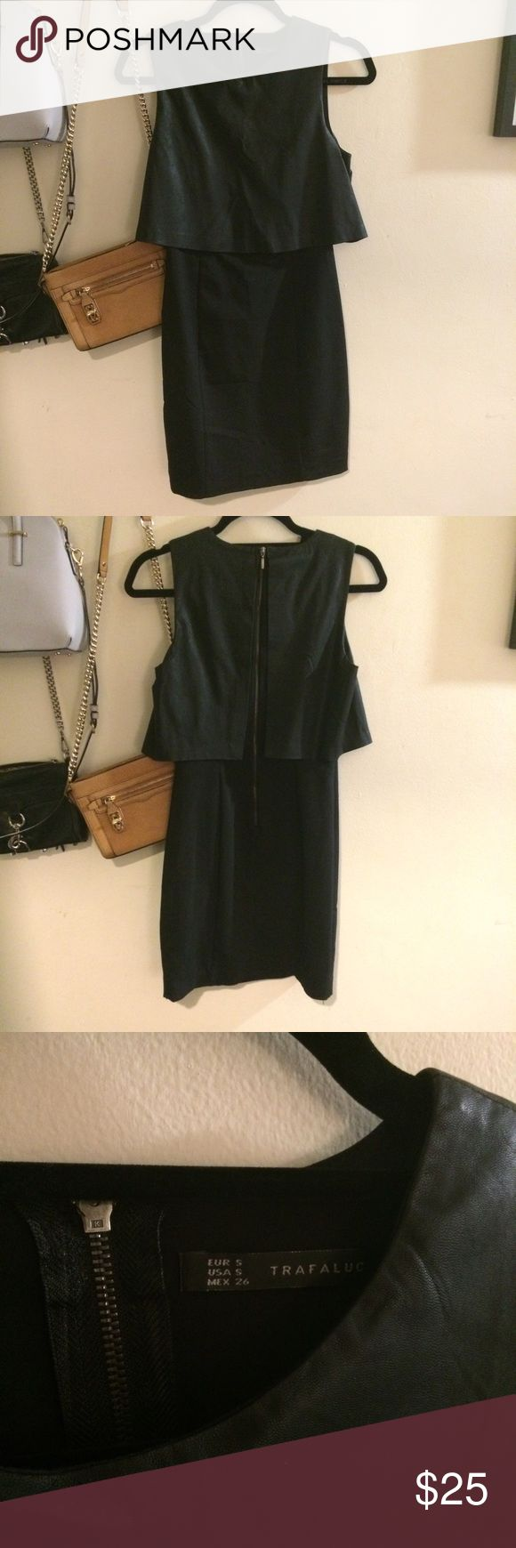 Black dress very - Zara Black Dress A Very Cute Dress With A Faux Leather Overlay Portion On Top