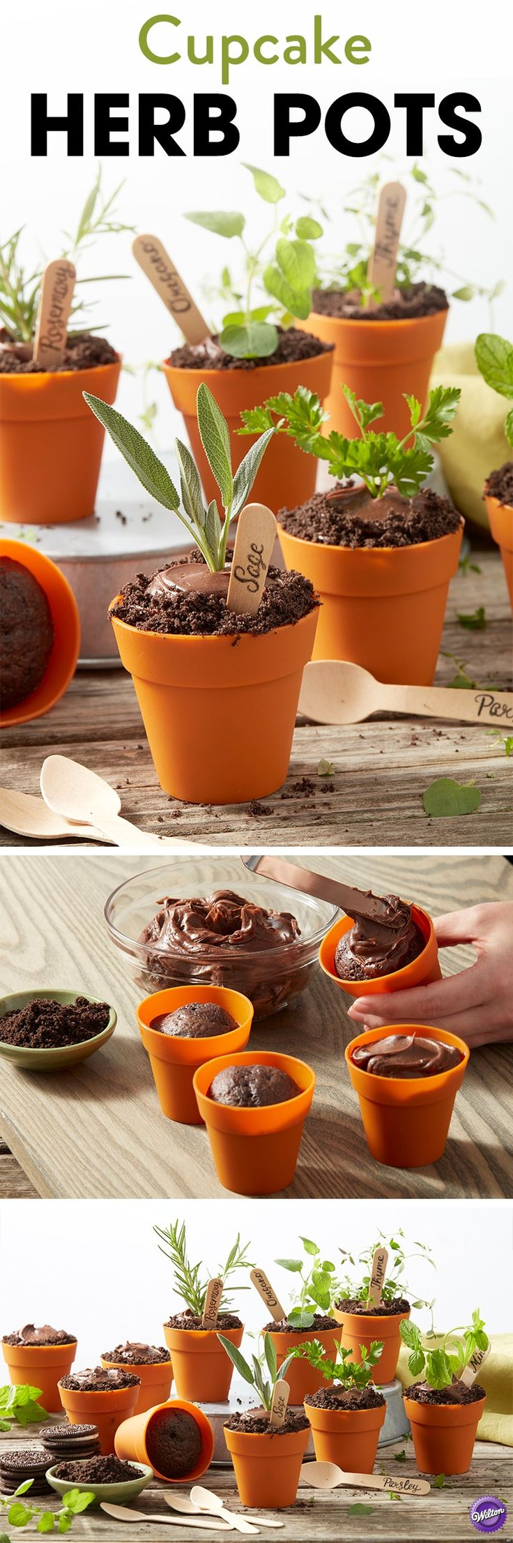 Welcome spring into your home with these adorable Cupcake Herb Pots. Made using your favorite devil's food cake mix or recipe, these little pots are decorated with chocolate icing and crushed cookies, then topped with your favorite fresh herbs. Use the Silicone Flower Pot Cups to bake these little treats, great for celebrating Mother's Day, a birthday, or the start of warm weather!