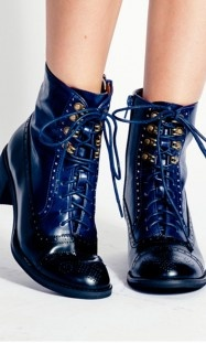 Jeffrey Campbell's Mattie Boot spotlights  the Black & Blue trend as well as the Military trend for Fall.