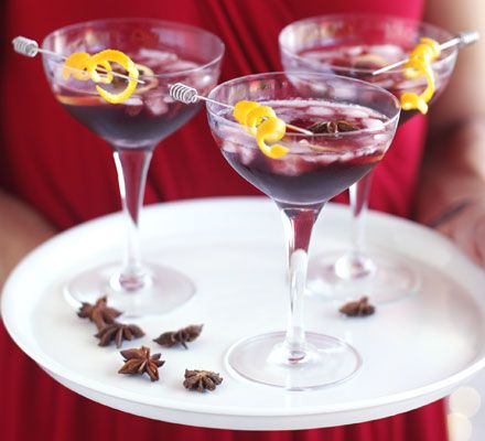 Mulled wine cocktail. The perfect party drink, as it can be made well ahead, then brought out of the fridge as guests arrive – or serve it hot for a traditional winter warmer