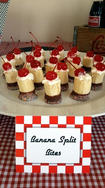 Banana Split Bites very cute but I am not sure how to turn the banana from turning brown...