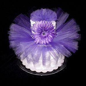 Purple Tutu with Matching Daisy Headband Set Newborn Baby Diaper Cake Pink Gift | eBay